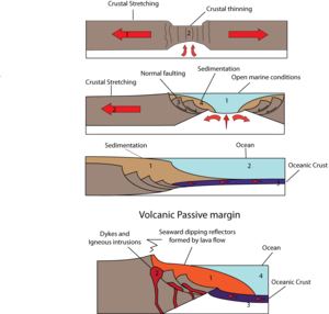 Tectonic subsidence - Formation of passive margin
