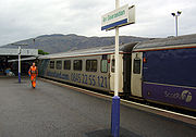 Arrival at Fort William (An Gearasdan in Gaelic) of the overnight sleeper train from London
