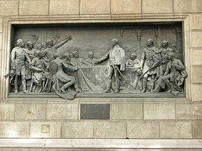 Founding of the Hungarian Academy of Sciences (Bronze relief), Akadémia Street, 2009 BudapestDSCN3523.jpg
