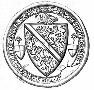Bohun swan - Counter seal of Humphrey de Bohun, 4th Earl of Hereford (1276–1322), attached to the Barons' Letter, 1301, showing the Bohun swan above the escutcheon and supporting the guige strap