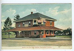 Boston and Worcester Street Railway - Image: Framingham Junction station postcard