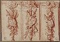 François-Antoine Vassé (1681-1736) trois trophees d'emblèmes religieux, dessin des bas-reliefs pour le sanctuaire de Notre Dame de Paris, avant 1712.jpg