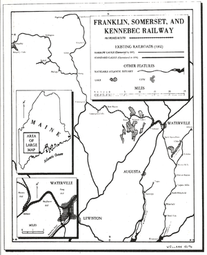 Wiscasset, Waterville and Farmington Railway - Image: Franklin Somerset&Kennebec Railway Map