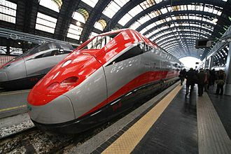 Rail transport in Italy - A frecciarossa high-speed train at Centrale station in Milan