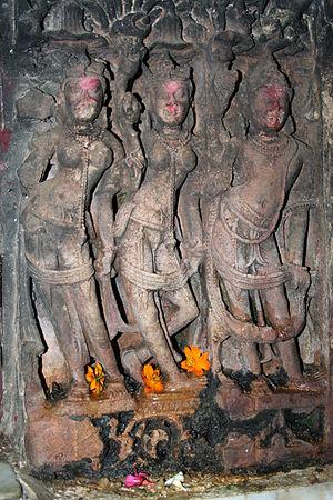 Pehowa - Image: Fresco on the Sarasawti temple wall Archaeological treasure