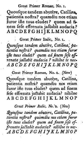 """Caslon - The Fry type foundry's imitations of first Baskerville (above) and then Caslon type (below), shown in a specimen attached to an edition of The Printer's Grammar, 1787. Mosley describes them as """"a very close copy that is not easy to tell from the original."""""""