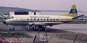 Vickers Viscount - A Vickers Viscount 700 at Aberdeen Airport, Scotland, June 1980