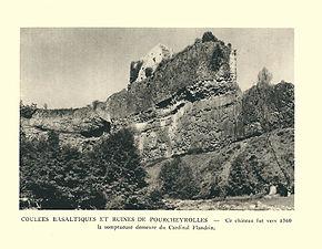 G.-L. Arlaud-recueil Vals Saint Jean-Pourcheyrolles, coulées basaltiques & ruines du château.jpg