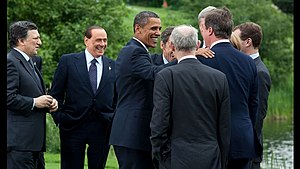 36th G8 summit - G8 leaders share an informal moment outside formal meetings.