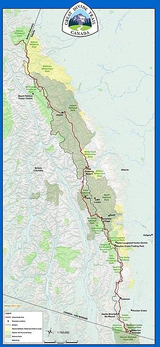 Great Divide Trail - Image: GDT Basemap