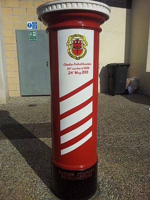 Gibraltar Football Association - A Royal Gibraltar Post Office pillar box is painted as a tribute to the GFA's success in becoming a full member of UEFA on 24 May 2013
