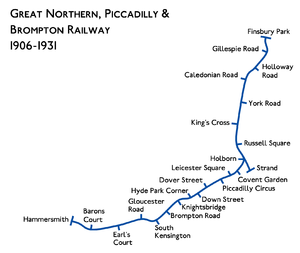 Great Northern Piccadilly And Brompton Railway Wikipedia - Northern line map london
