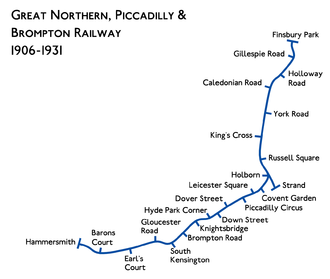 Great Northern, Piccadilly and Brompton Railway - Image: GNP&BR