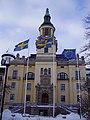 Gamla polishuset with flags.jpg