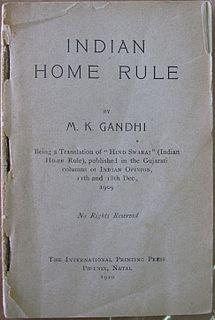 <i>Hind Swaraj</i> or <i>Indian Home Rule</i> political essay by Mahatma Gandhi