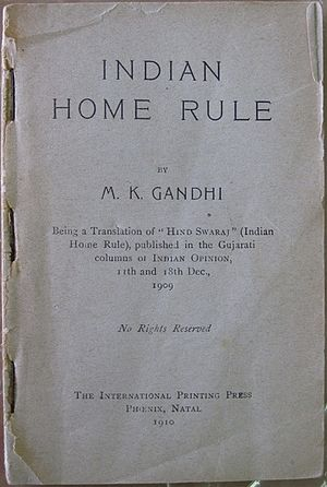 "Indian Home Rule movement - First page of the first edition of the English translation of Gandhi's ""Hind Swaraj"" - ""Indian Home Rule"" in translation. The copyright legend on this first edition bears these words: ""No Rights Reserved""."