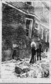 Gaping hole in the concrete foundation where an anarchist bomb had exploded at 331 East 31st Street in Paterson NJ-Paterson Evening News.png