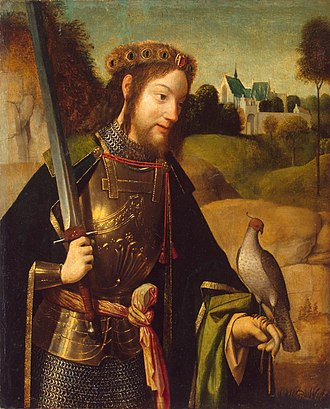 Bavo of Ghent - Saint Bavo with falcon and sword, by Geertgen tot Sint Jans, late 15th century