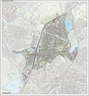 Oegstgeest - Dutch topographic map of the municipality of Oegstgeest, June 2015