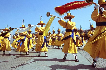 The Republic of Korea Army maintains a traditional daechwita band. Geommu(Sword dance) (4421581864).jpg