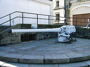 10.5 cm SK L/45 naval gun - The gun from the submarine SM ''UB-91'', displayed as a memorial at Chepstow in Wales