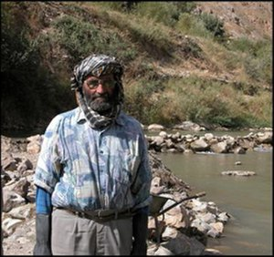 Ghorband District - A local worker for irrigating the Ghorband River