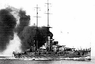 Italian battleship Giulio Cesare - Gulio Cesare shortly after completion, 1914