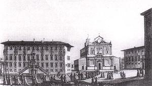 Santo Stefano dei Cavalieri, Pisa - Giuseppe Pera, View of the Piazza dei Cavalieri (1801-1803)