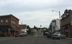 Looking east at downtown Glidden