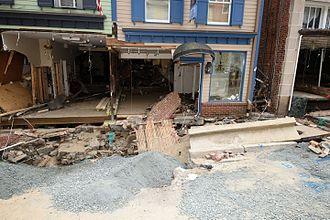 2016 Maryland flood - Flood damage along Main Street in Ellicott City on August 10