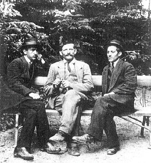 Gavrilo Princip - Trifko Grabež, Milan Ciganović and Princip in Kalemegdan, Belgrade, May 1914.