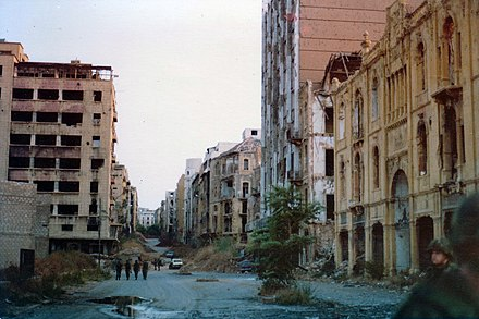 The Green Line that separated west and east Beirut, 1982 Green Line, Beirut 1982.jpg