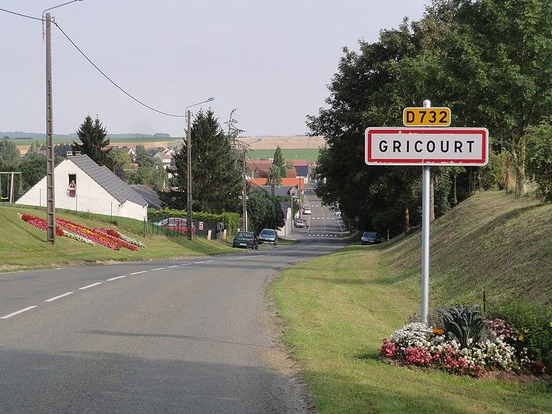 Gricourt (Aisne) city limit sign
