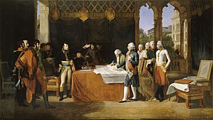 Treaty of Leoben - A sketch for a painting drawn in 1806 by Guillaume Guillon-Lethière. Now in the Palace of Versailles.