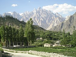 A view of the Passu Cones from Gulmit