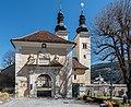Gurk Domplatz 1 Stiftsanlagen Torturm mit Stiftsportal W-Ansicht 27032017 7072.jpg