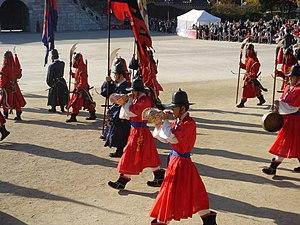 Conch (instrument) - Korean military procession (daechwita) with Charonia tritonis conches (nagak) (2006)