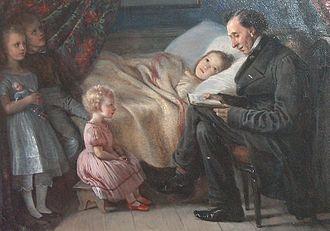 Elisabeth Jerichau-Baumann - Painting of Hans Christian Andersen reading to some of the painter's children, 1862