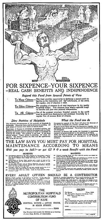 HCF Health Insurance - HCF's first-ever advertisement on Wednesday 22 June 1932 on The Sydney Morning Herald.