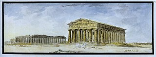 View of the Basilica and Poseidon Temple of Paestum