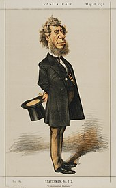 Color caricature sketch of Sec. Hamilton Fish with extended beard in standing position holding top hat in hand.