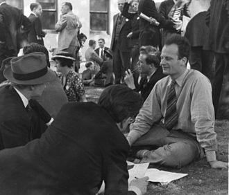 Hans Bethe - Bethe being interviewed by journalists