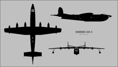 Harbin SH-5 three-view silhouette.png
