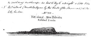 HMS Havannah (1811) - Sketch of Eretoka Island (Hat Island), Vanuatu, drawn by Philip Doyne Vigors, while serving in Havannah