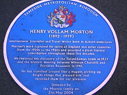 Photo of Henry Vollam Morton blue plaque