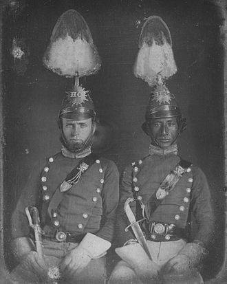 Francisco de Paula Marín - His son Paul Marin (right) photographed with Henry A. Neilson in the uniform of the Hawaiian Cavalry, 1855