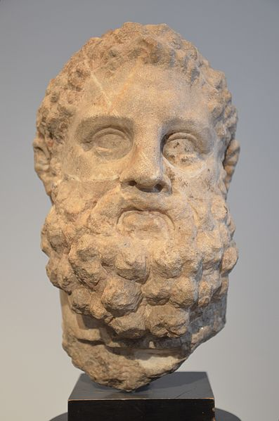File:Herakles as Pugilist, the smaller than life-size head originates from a statue that represented the Greek hero as a pugilist, Herakles was their patron deitey, 200-150 BC, Altes Museum (13958946167).jpg