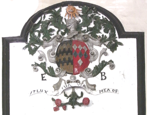 Blagdon, Paignton - 1708 heraldic overmantle in great hall of Blagdon House, showing arms of Blount impaling Guise
