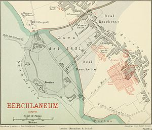 Herculaneum - Herculaneum plan showing buildings below modern town
