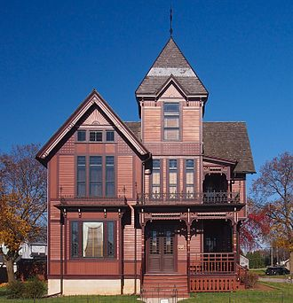Stick style - The Herman C. Timm House in New Holstein, Wisconsin, has stickwork painted in a darker brown for contrast